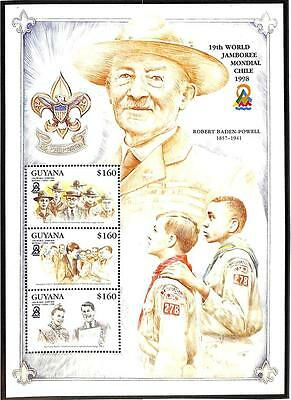 GUYANA BOY SCOUTS SCOTT #3356 a-c PERF & IMPERF SOUVENIR SHEETS OF 3 STAMPS 1998