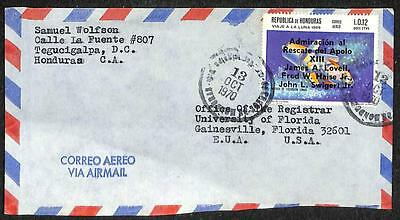 Honduras Scott C456 (Var) Ovpt Stamp Apollo Space Airmail Cover To Usa 1970