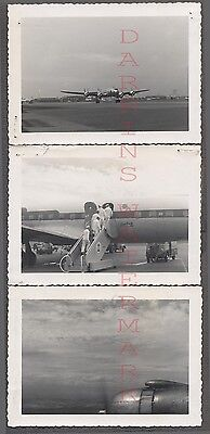 Lot of 3 Vintage Photos United Airlines Lockheed Constellation Airplane 683815