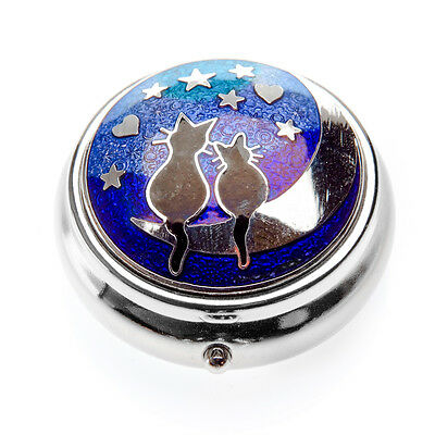 Sea Gems Gift Boxed Love Cats On Moon Silver Plated Pillbox 9011