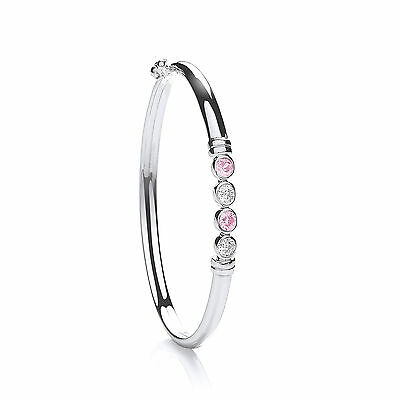Sterling Silver Pink & Clear Stone Baby Bangle British Made - Hallmarked