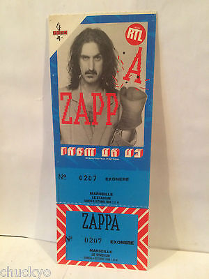 Frank Zappa Concert Ticket Stub 10-6-1984 France - Rare Picture Ticket