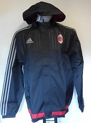 Ac Milan 2015/16 Black All Weather Jacket By Adidas Adults Size Small