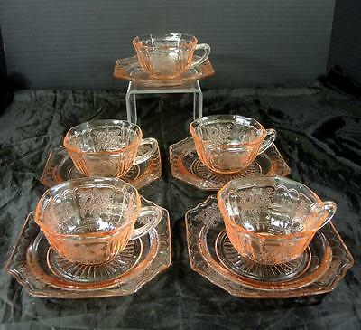 Five Pink Hocking Glass Mayfair Open Rose Cups & Saucers