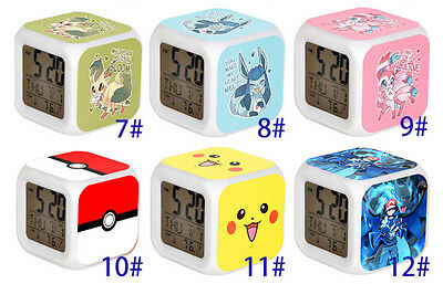7Color LED Night Light Alarm 33designs Pikachu Pokemon Clock  Figures Watch Toy