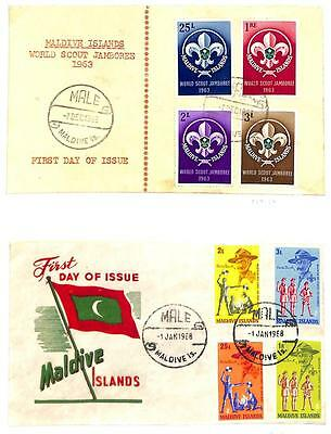 Maldive Islands Boy Scouts Scott #129-32 & 243-46 Stamps Fdc First Day Cover