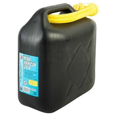 Black Plastic Jerry Fuel Can Petrol Diesel Water Container With Spout 10 Litre