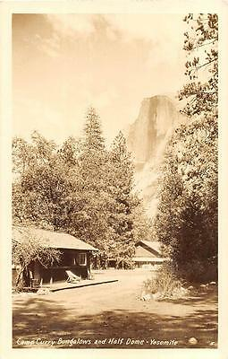 Rppc Camp Curry Bungalows And Half Dome Yosemite Park California Photo Postcard