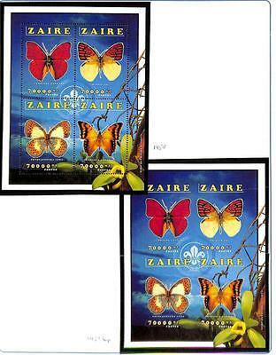 Zaire Boy Scouts Butterflies Scott #1454 Perf & Imperf Stamp Sheets Mnh 1996