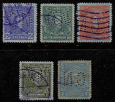 1932 Venezuela Lot of 5 Security Paper Official G.N Perfin Used