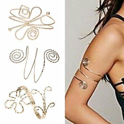 NEW Fashion Punk Swirl Upper Arm Cuff Armlet Armband Bangle Bracelet Gift Gold