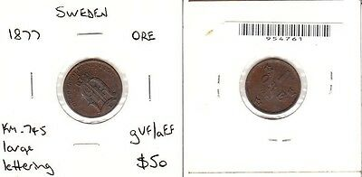Sweden - 1877 Ore KM:745. Large lettering. gVF/aEF.
