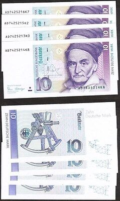 Germany - 1989 4x 10 Mark. P.38a. UNC.