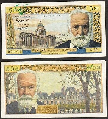 France 1961 5 New Francs Pick-141-A.Victor Hugo. Ink mark top left. aVF & Scarce
