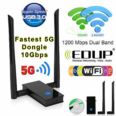 1200Mbps Dual Band 11AC 2.4/5GHz USB3.0 WiFi Adapter Wireless Network LAN Dongle