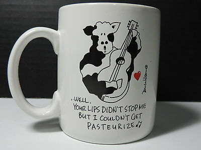 DOUG WILSON MUG Cup Cow Humor Funny 'COULDN'T GET PASTEURIZE' Genuine Cowhide