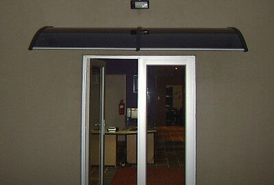 Byron Outdoor Door Canopy Window Awning 2.4m x 0.8m Tinted-Cover,Black-Brackets