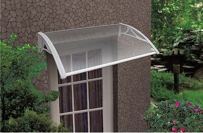 Byron Outdoor Door Canopy Window Awning 1.2m x 0.8m Clear-Cover,White-Brackets