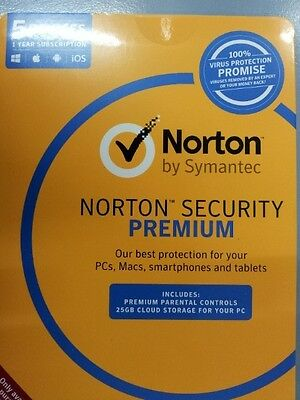 NEW Symantec Norton security PREMIUM 5 PC Multi DEVICES MAC Android iPhone 2017