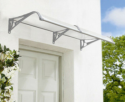 Noosa Outdoor Window Awning 2.4m x 1m with Gutter Clear Cover- Grey Brackets