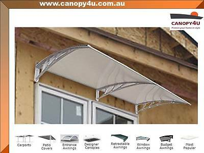 Coolum Outdoor Window Awning Canopy 2m x 1m Clear Cover - Grey Brackets
