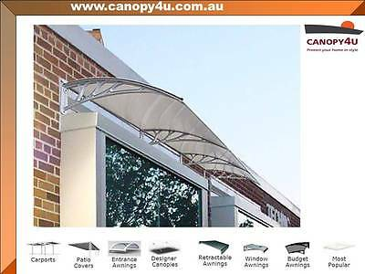 Coolum Outdoor Window Awning Canopy 3m x 1m Clear Cover - Grey Brackets