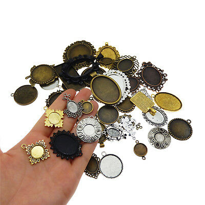 20pcs Mixed Tone Alloy Setting Tray Base Crafts Findings Pendants Charms 38391