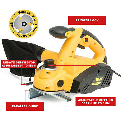 Wolf 900W, 3 Bladed Rebate Planer with 82mm planing width
