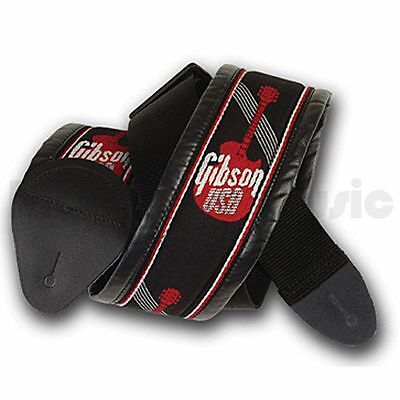 Gibson 3 inch Woven Guitar Strap - Red Logo