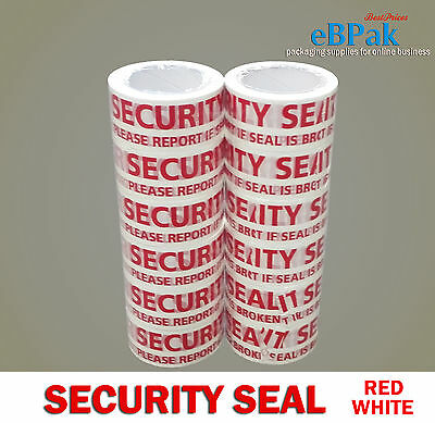 6 / 12 / 36 / 72 Rolls Security Seal - Red White Warning Packing Packaging Tape