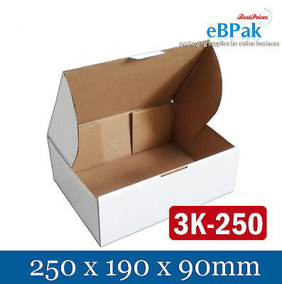 100 Mailing Box 250x190x90mm - White Shipping Carton for AusPOST 3KG satchel