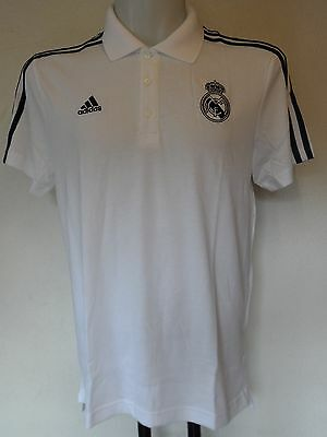 Real Madrid 2015/16 3S White Polo Shirt By Adidas Adults Size Large Bnwt