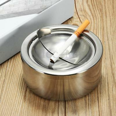 Round Stainless Steel Cigarette Lidded Ashtray Silver Windproof Case With Lid