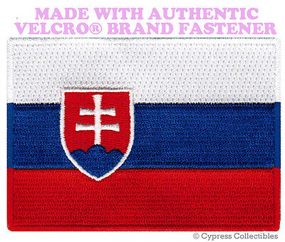 SLOVAKIA NATIONAL FLAG PATCH SLOVAK EMBROIDERED EMBLEM w/ VELCRO® Brand Fastener
