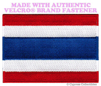 LAOS NATIONAL FLAG PATCH LAOTIAN EMBROIDERED SOUVENIR w// VELCRO® Brand Fastener