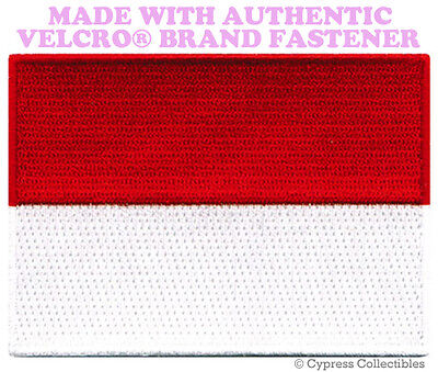 INDONESIA FLAG embroidered PATCH EMBLEM JAKARTA new w/ VELCRO® Brand Fastener