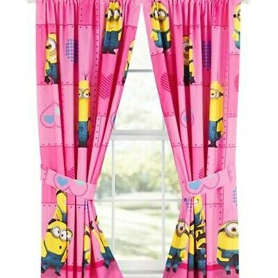 4pc DESPICABLE ME MINION CURTAINS Way 2 Cute Pink Heart Window Panels Tie-Backs