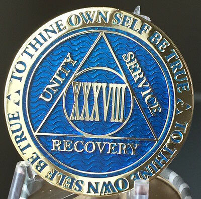 38 Year AA Medallion Blue Gold Plated Alcoholics Anonymous Sobriety Chip Coin