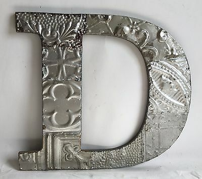 "Large Antique Tin Ceiling Wrapped 16"" Letter 'D' Patchwork Mosaic Silver B75"