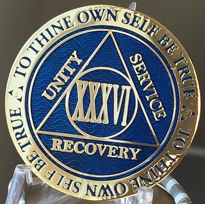 36 Year AA Medallion Blue Gold Plated Alcoholics Anonymous Sobriety Chip Coin