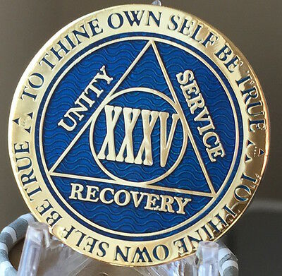 35 Year AA Medallion Blue Gold Plated Alcoholics Anonymous Sobriety Chip Coin