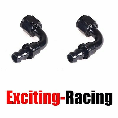 2pcs AN10 90 Degree Push On Lock Oil Fuel Line Hose End Fitting Adaptor 10-AN