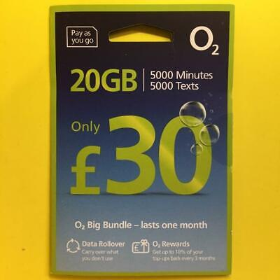 o2 SIM Card 20GB Data 3000 Text 3000 Min = £30 Bundle+02 Nano Micro Mini+WiFi UK