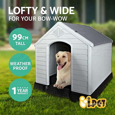 Pet Dog Kennel Weatherproof Plastic Outdoor Indoor Garden House Extra Large GR