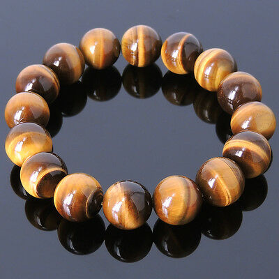 Men's Protection Bracelet Brown Tiger Eye 14mm High Quality Gemstone DIY-K 052M