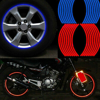 16 Strips  Reflective Motorcycle Car Rim Stripe Wheel Decal Tape Sticker Diy Hs