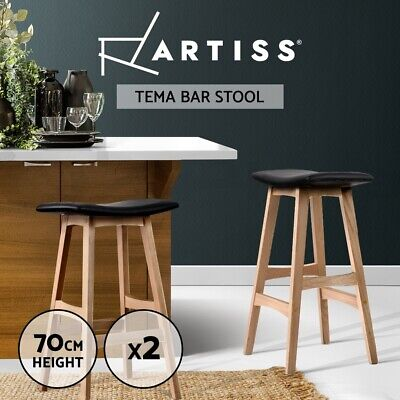 2x Oak Wood Bar Stools Wooden Barstool Dining Chairs Kitchen Plywood Black 3629