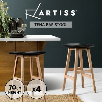 4x Oak Wood Bar Stools Wooden Barstool Dining Chairs Kitchen Plywood Black 3629