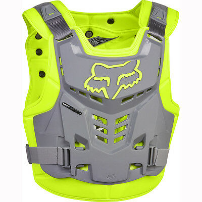 Fox Racing Mens Adult Yellow Grey Proframe Lc Rock Roost Guard Chest Protector