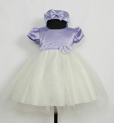 New Girls Lilac&Ivory Wedding Party Pageant Dress+Hat